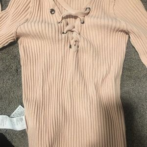 Baby pink criss cross sweater